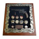 Панно с револьвером Наган и наградами СССР gt16-284