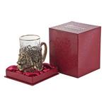 """Подстаканник """"Медведь"""" (стакан - хрусталь с золотым ободком, картонный футляр) ПДКО-333У"""