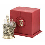"""Набор для чая """"С юбилеем-55 лет"""" (стакан - хрусталь с золотым ободком, кожаный футляр с бронзовой накладкой, ложка - латунь) ПДКО-324"""