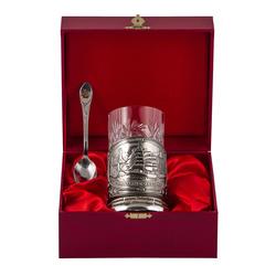 """Набор для чая """"Парусник"""" (3 предмета) в деревянном футляре ПД-360/1"""