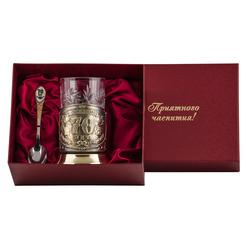 """Набор для чая подарочный """"С юбилеем! 70 лет"""" (3 предмета) в футляре ПД-176ШУ-л"""