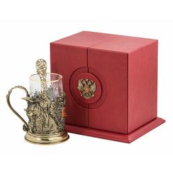 """Набор для чая подарочный """"Россия"""" (3 предмета) в футляре ПДКО-328"""