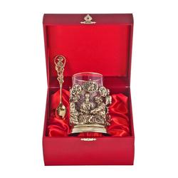 """Набор для чая """"Хирурги"""" (стакан - хрусталь с золотым ободком, деревянный футляр, ложка - латунь) ПДКО-335ДФ"""
