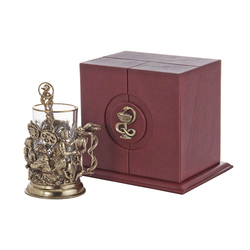 """Набор для чая """"Хирурги"""" (стакан - хрусталь с золотым ободком, кожаный футляр с бронзовой накладкой, ложка - латунь) ПДКО-335"""