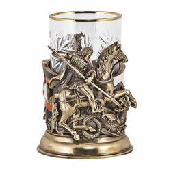 """Подстаканник """"Георгий-Победоносец"""" (цветные ювелирные эмали, стакан - хрусталь с золотым ободком, картонный футляр) ПДКО-329У"""
