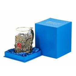 """Подстаканник """"Герб нефтяников и газовиков"""" (цветные ювелирные эмали, стакан - хрусталь с золотым ободком, картонный футляр) ПДКО-330У"""