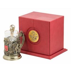 """Набор для чая """"Герб нефтяников и газовиков"""" (цветные ювелирные эмали, стакан - хрусталь с золотым ободком, кожаный футляр, ложка - латунь) ПДКО-330"""