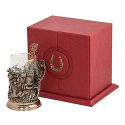 """Набор для чая """"Рог изобилия"""" (стакан - хрусталь с золотым ободком, кожаный футляр с бронзовой накладкой, ложка - латунь) ПДКО-331"""