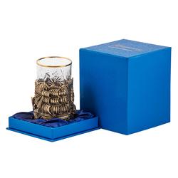"""Подстаканник """"Попутного ветра"""" (стакан - хрусталь с золотым ободком, картонный футляр) ПДКО-332У"""