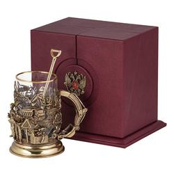 Набор для чая «Строители» (стакан - хрусталь с золотым ободком, кожаный футляр с бронзовой накладкой, ложка - латунь) ПДКО-336