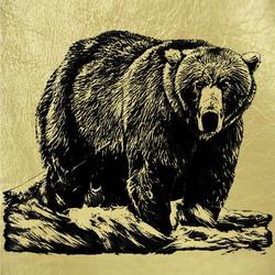 """Картина на сусальном золоте """"Бурый Медведь 2"""" zol10005"""