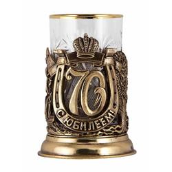 """Подстаканник """"С юбилеем-70 лет"""" (стакан - хрусталь с золотым ободком, картонный футляр) ПДКО-327У"""