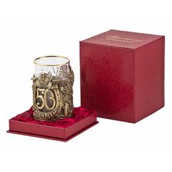 """Подстаканник """"С юбилеем-50 лет"""" (стакан - хрусталь с золотым ободком, картонный футляр) ПДКО-323У"""