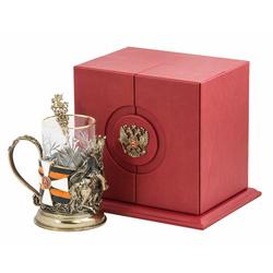 """Набор для чая """"Георгий-Победоносец"""" (цветные ювелирные эмали, стакан - хрусталь с золотым ободком, кожаный футляр с бронзовой накладкой, ложка - латунь) ПДКО-329"""