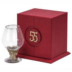 """Бокал """"55 лет"""" для бренди Богемия отделка """"Оптика"""" (в кожаном футляре) + в подарок DVD-открытка """"Ты родился!"""" 1964 год БББ-55лет-Оп-ОТР"""