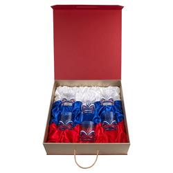 """Набор из 6-ти бокалов для виски """"Власть"""" цветные ювелирные эмали (в футляре-кейсе) БВ-06(Власть)"""