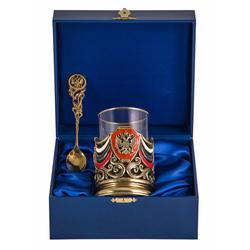 """Набор для чая """"Россия"""" (3пр.) (точное литье, цветные ювелирные эмали,стакан-стекло с золотым ободком, деревянный футляр) ПДК-360/1э"""