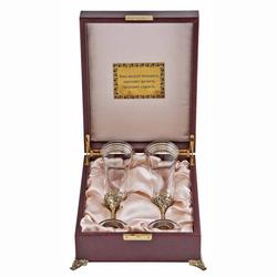 """Набор из 2-х бокалов для шампанского Богемия, отделка """"Флорис"""" (в деревянном футляре) НБШБ-02Ф"""
