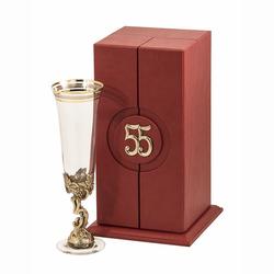 """Бокал """"55 лет"""" для шампанского Богемия, отделка """"Сеточка"""" (в кожаном футляре) БШБ-55лет"""