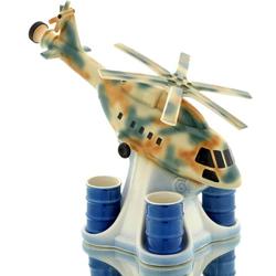 Штоф Вертолет камуфляж на подставке со стопками-бочками