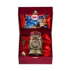 """Набор для чая """"С юбилеем-55 лет"""" (стакан - хрусталь с золотым ободком, деревянный футляр, ложка - латунь, DVD-открытка) ПДКО-324ДФ-ОТР"""