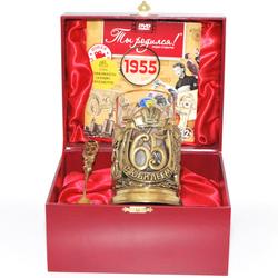 """Набор для чая """"С юбилеем-65 лет"""" (стакан - хрусталь с золотым ободком, деревянный футляр, ложка - латунь, DVD-открытка) ПДКО-326ДФ-ОТР"""