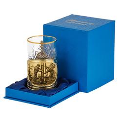 "Подстаканник ""Нефтяники"" - картон.футляр, хруст.стакан, латунь, гравировка ПД-507У-л"