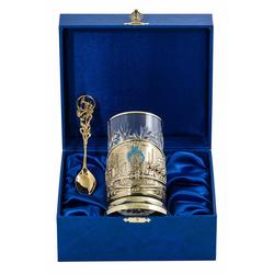 """Набор для чая """"Газ"""" (3 пр.) (стакан - хрусталь с зол.ободком, деревянный футляр, ложка - латунь) ПДЛ-452"""