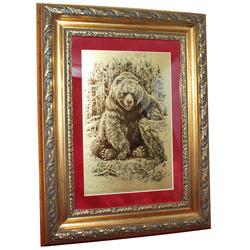 """Картина на сусальном золоте """"Бурый Медведь"""" zol10002"""