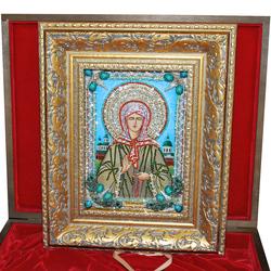 """Икона с полудрагоценными камнями """"Святая Матрона Московская"""" reg20157"""
