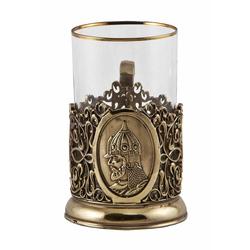 """Подстаканник """"Князь"""" (стакан-стекло с золотым ободком, деревянный футляр) ПД-225"""