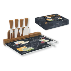 Easy Life (R2S) Набор для сыра: разделочная доска (стекло) + 4 ножа Мир сыров 46542