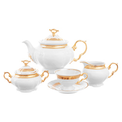 Чайный сервиз на 6 персон Thun Мария Луиза золотая лента 17 предметов GL03797