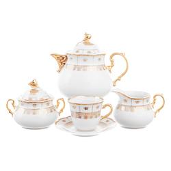 Чайный сервиз Thun Менуэт Золотой орнамент Натали 6 персон 17 предметов GL03806