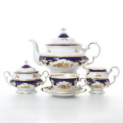 Чайный сервиз Leander Соната Золотая роза кобальт 6 персон 17 предметов GL05473