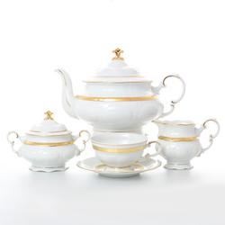 Чайный сервиз Leander Соната Золотая лента 6 персон 17 предметов GL05642