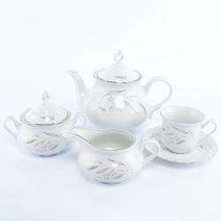 Чайный сервиз Thun Констанция Серебряные колосья 6 персон 17 предметов GL15845
