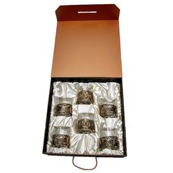 """Набор из 6-ти бокалов виски """"Медведь"""", Н=100 мм, V=280 мл (в футляре-кейсе) БВ-06(Медведь)"""