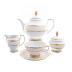 Чайный сервиз Falkenporzellan Constanza Diamond White Gold 6 персон 17 предметов GL23973