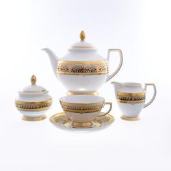 Чайный сервиз Falkenporzellan Arabesque Seladon Gold 6 персон 17 предметов GL24004