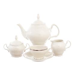 Чайный сервиз на 6 персон Bernadotte Платиновый узор Be-Ivory 17 предметов GL25539