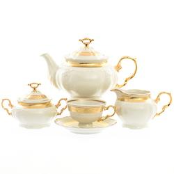 Чайный сервиз Thun Мария Луиза золотая лента Ivory 6 персон 17 предметов GL25642
