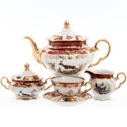 Чайный сервиз Roman Lidicky Фредерика Охота Красная 6 персон 17 предметов GL26097