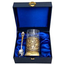 """Набор для чая """"Русское чаепитие"""" (3 пр.) - дерев.футляр, хруст.стакан, латунь, штамп, ложка - нерж. грав. ПД-371/1Ш-л"""