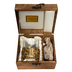 """Бокал для виски """"Парусник"""", Н=100 мм.,V=280 мл., с камнями в деревянном футляре БВ-01(Парусник)КДФ"""