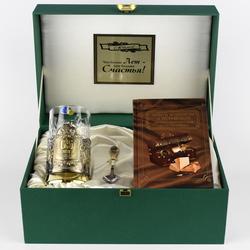 """Набор для чая подарочный с книгой """"С юбилеем! 65 лет"""" в футляре reg23021"""