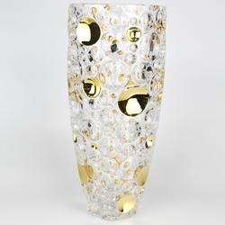 Bohemia Jihlava Ваза Lisboa Золотые шары 35 см. (гладкий хрусталь Йиглава)