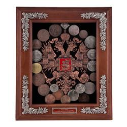 Ключница (старые монеты) мал. 34х30х9 см. КЛИ-02мал