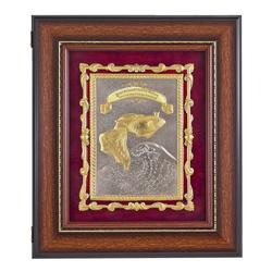 """Ключница """"Золотая рыбка"""" -багет коричневый. отделка шильда-золото.цвет орех 32х37х7 см. КЛ-509/1орех ОЗ"""