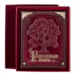 Родословная книга кожаная обложка с латунными накладками (в футляре с бархатным ложементом) РК-03